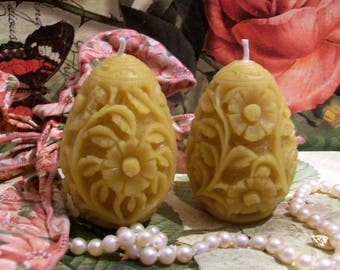Beeswax Flower Carved Egg Candle #2 Set of 2 Candles
