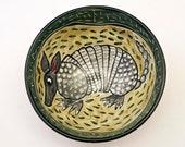Ceramic Pottery Bowl - Cereal Chili Bowl, Medium Serving Bowl, Armadillo. Majolica Bowl, Animal Southwestern, Gift for her, Gift for him