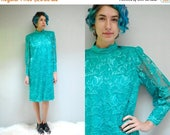 sale 25% off - Mother of the Bride Dress //  80s Lace Dress //  Party Dress  //  LE TEAL
