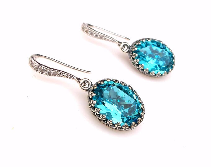 bridal earrings bridesmaid gift wedding jewelry Swarovski light turquoise crystal oval rhinestone foiled drop with silver cubic cz hook