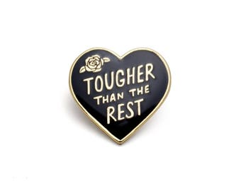 Tougher than the Rest Black Heart Retro Style Enamel pin by Lucky Horse Press // handmade in USA