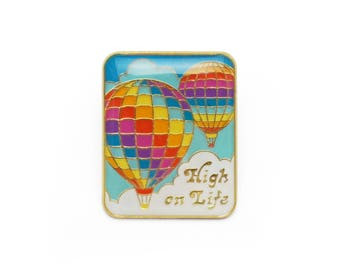 High on Life Retro Style Hot Air Balloon Enamel pin by Lucky Horse Press // handmade in USA