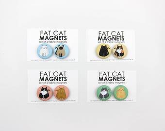 Fat Cat Magnet Set Handmade by Megan McCrary