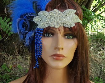 Gatsby Headpiece,  Royal Blue Feather headpiece costume feathers headband silver rhinestone headband wedding bridal feather headdress blue