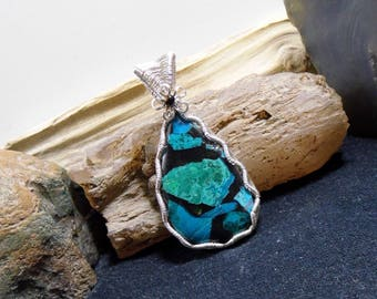 Chrysocolla in Resin Black & Turquoise Gemstone Silver Pendant