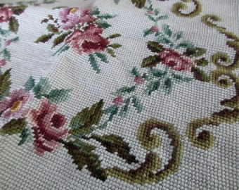 vintage NEEDLEPOINT chair cover -  flowers, roses, white, pink, beige