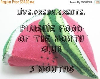 ON SALE Plushie of the Month Club - Felt Play Foods - 3 Month Subscription and printable certificate
