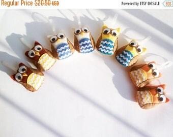 ON SALE Plush Christmas Owl Ornaments- Your choice of 2