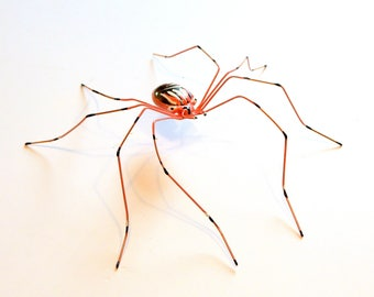 Handmade Large Copper Wire Spider, Wire Art, Large 7 Inch Coral Spider, Arachnid, Unique Gift for Him Her, Black White Coral Copper Spider