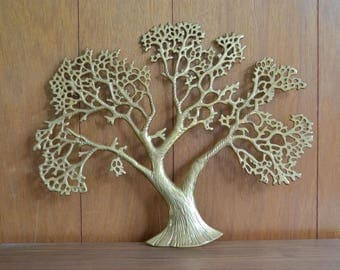 vintage midcentury brass tree wall hanging / natural home decor / woodland rustic