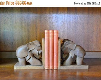 CIJ SALE 25% OFF vintage hand made wood elephant bookends / vintage library decor / hand carved hand made wooden home decor