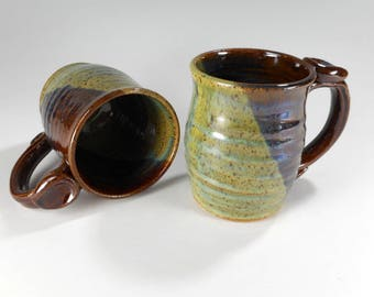 Ceramic coffee mugs set of 2, pottery coffee cup, stoneware coffee mug, ceramic tea cup, pottery tea mug with thumb rest, green and brown