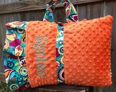 Personalized Kindermat Nap Mat cover with attached Minky Blanket & Ruffle Pillow Case