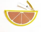 La Lisette yellow leather purse clutch fruit bag pink grapefruit purse leather wallet make up case