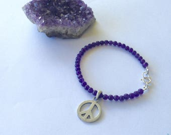 Amethyst Bracelet / Gemstone Bracelet / Purple Bracelet / Handmade Bracelet / Natural Bracelet / Bohemian Jewelry / Peace Sign / Peace Charm