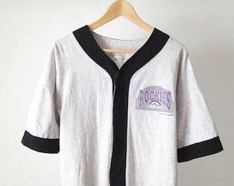 vintage COLORADO ROCKIES color block boxy large JERSEY baseball shirt button up down vintage 90s top