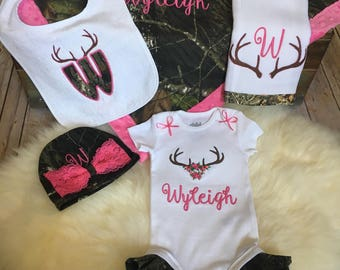 Baby Girl Personalized Camo, Coming Home Outfit, Deer Antler clothing, Blanket, Bodysuit, Ruffled legs bodysuit, Hat, Burp Cloth, Bib