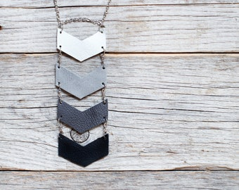 Black and grey leather geometric necklace, chevron necklace, Ethnic necklace, arrow necklace, boho tribal necklace, gift for her