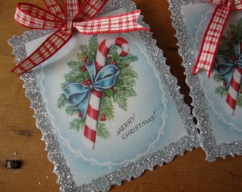 Vintage Christmas tag ornaments glittered Christmas paper ornaments candy canes aqua blue red and silver party favor tags