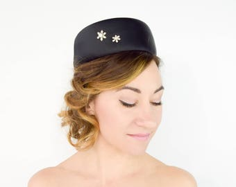 60s Black Hat | Rhinestone Flower & Satin Mod Evening Hat