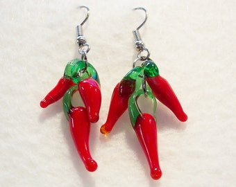 Red Earrings, Red Hot Chili Pepper Earrings, Chili Pepper Earrings, Clip ons Available