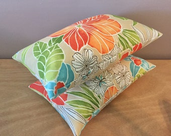 2 Breezy Beach Floral Indoor Outdoor Lumbar Pillows