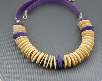 Natural Wood Rope Necklace on Rubber Ribbon.