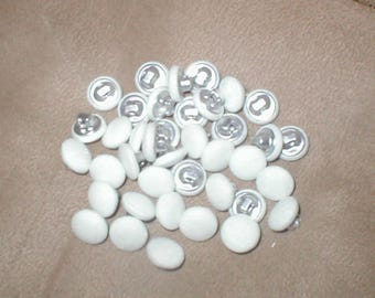 lot of 38 White peau de soi Covered Bridal Buttons