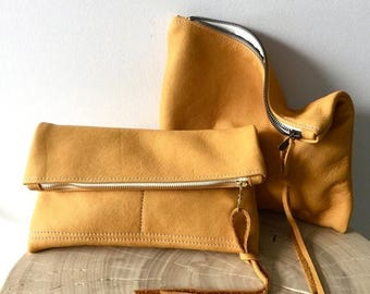 summer sale Soft Bison Yellow Leather Clutch - camel leather clutch - fold over clutch