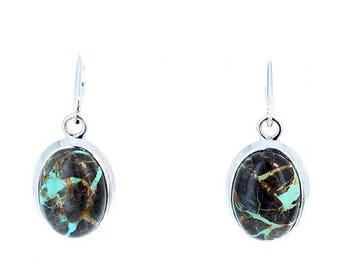 Summer Sale : ) CARICO LAKE TURQUOISE Earrings Patchwork Ovals Sterling NewWorldGems
