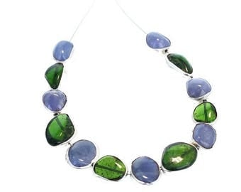 Summer Sale : ) Sterling Silver Rimmed Chrome Diopside and Tanzanite Beads NewWorldGems