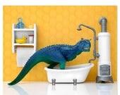 FALL SALE Dinosaur decor wall art print: Scrub