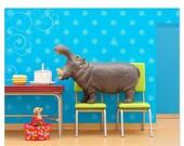 FALL SALE Hippo animal art print: Hungry, Hungry Hippo