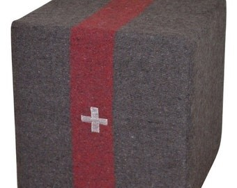 ON SALE Swiss Army Blanket (circa 1940s) as Ottoman, Footstool, Pouf, Seat