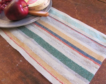 Short Linen Table Runner, Scandinavian Danish Modern Rustic French Country Cottage Farmhouse Home Decor, Hand Woven Striped Fabric Table Mat