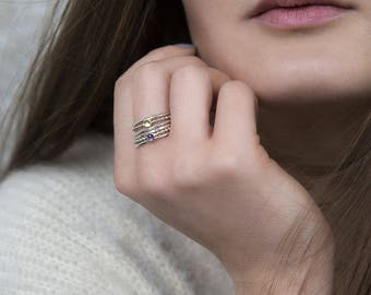 Gold silver stacking rings, skinny rings, textured rings, rings stack - Juliet