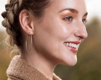 Silver hoop earrings, hoop earrings silver, large hoop earrings, delicate hoops large - Carla