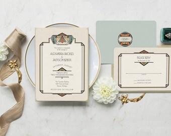 art deco wedding invitation gatsby wedding wedding invitations great gatsby wedding invitation set