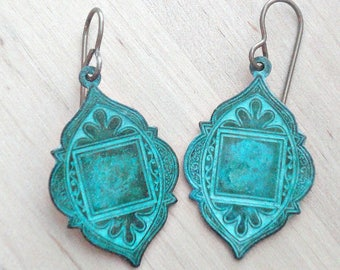 Bohemian Medallion Earrings - Arabian Style Earrings - Patina Jewelry - Verdigris Green - Patina Earrings - Bohemian Jewelry - Gift for Her