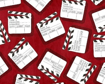 Light, Camera, Action from Windham Fabrics - Full or Half Yard Clap Boards on Red - Movie Clap Board Fabric