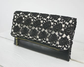 Bride Lace Purse | Black Wedding Purse | Black and White Clutch for Mother of Bride Groom