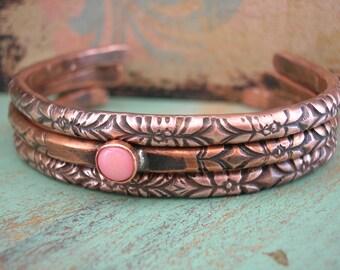 Boho stackable bracelets set of 3 - Ancient Alchemy - boho jewelry, copper cuff bracelets, southwestern bohemian, pink,  layering jewelry