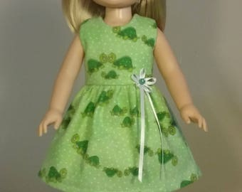 14.5 inch doll clothes Green Turtle Print Dress fits American Girl Wellie Wishers Doll Clothes Handmade