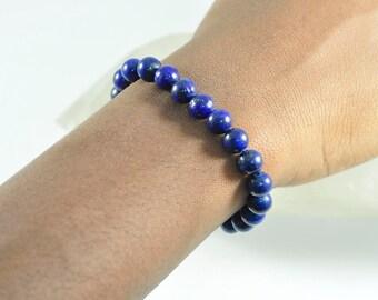 8mm, Lapis Lazuli, Mala, Bead, Bracelet, Gemstone Jewelry, Blue Jewelry
