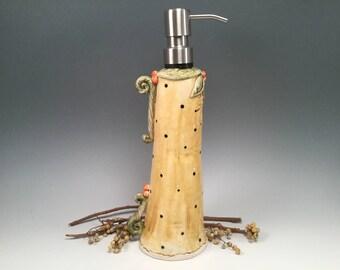 Soap dispenser/soap pump/bathroom soap pump/bathroom soap bottle/bathroom accessories/bridal shower gift/handmade pottery