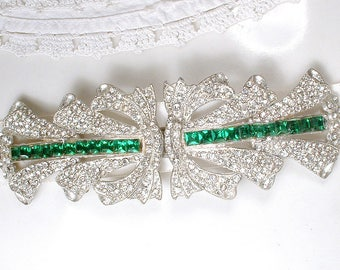 OOAK 1920s Emerald Wedding Dress Sash Belt Buckle / Hair Comb (Large/PAIR) Vintage Art Deco Green Rhinestone Gatsby Bridal Wedding HairPiece