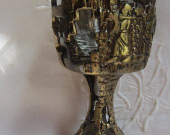 Vintage Brass Wine Cup Kiddish Shabbat Made in Israel