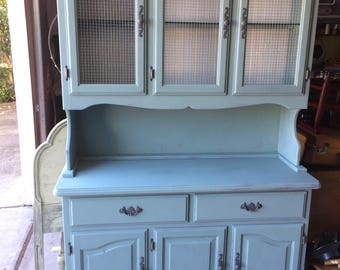Vintage Hutch Shabby Farmhouse Sage Blue White Gray Chickenwire LOCAL PU ONLY