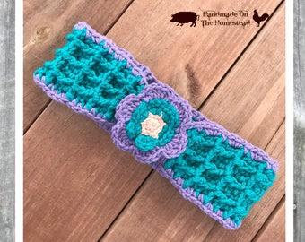 Crochet headband, ear warmer, oil diffuser, thick headband, chunky headband, flower headband, personal diffuser, ear muffs, essential oils