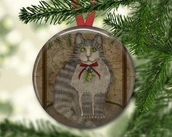 Prim cat ornament for tree - Christmas decorations for tree - primitive  Christmas tree ornaments -  ORN-46